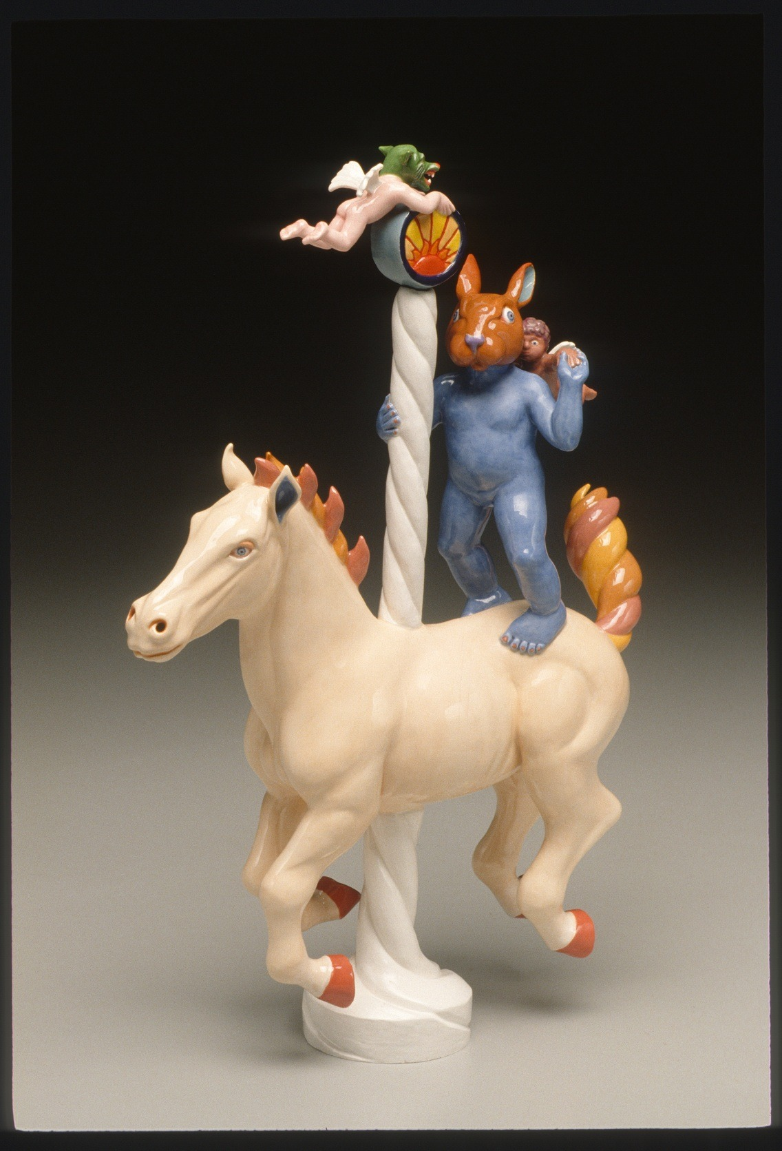 "RUSSELL BILES;""Baby Daze (Carousel of Life)"";2003;hand built earthenware;h16"";photo Tim Barnwell."