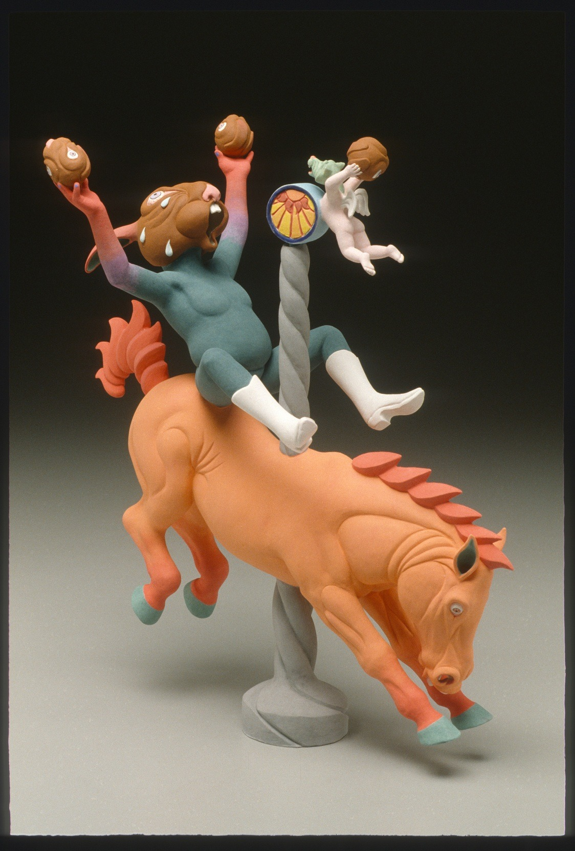 "RUSSELL BILES;""8 Seconds (Carousel of Life)"";2003;hand built earthenware;h16"";photo Tim Barnwell."