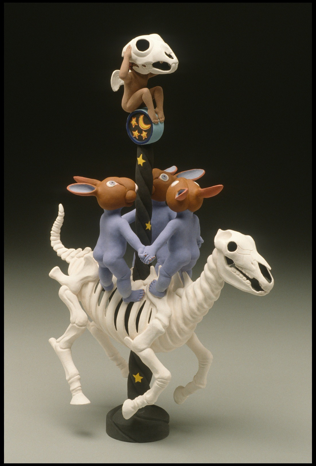 "RUSSELL BILES;""Happy Trails (Carousel of Life)"";2003;hand built earthenware;h16"";photo Tim Barnwell."