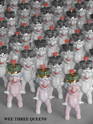 "RUSSELL BILES;""Wee Three Queens(Wee Club)"";slipcast porcelain;h3""."