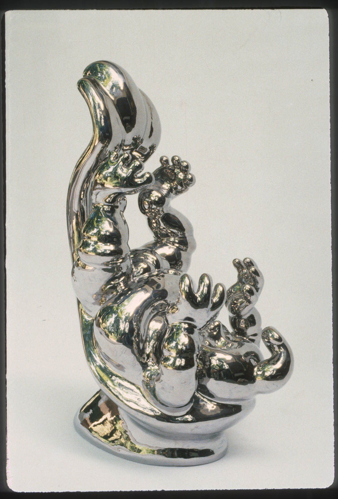 """RUSSELL BILES;""""Gotta Have it All"""";1990;hand built earthenware;h21""""."""