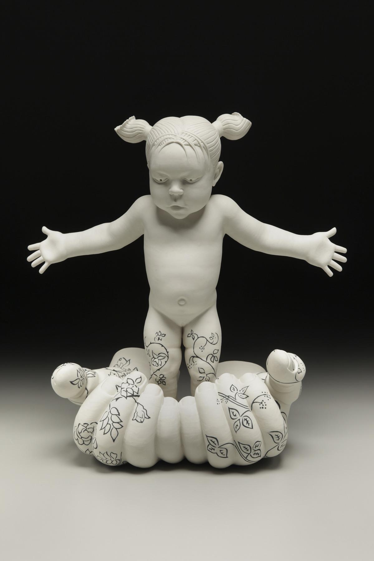 """RUSSELL BILES, """"Family (Ava)""""; 2014; handbuilt porcelain; 18""""h; photo Tim Barnwell."""