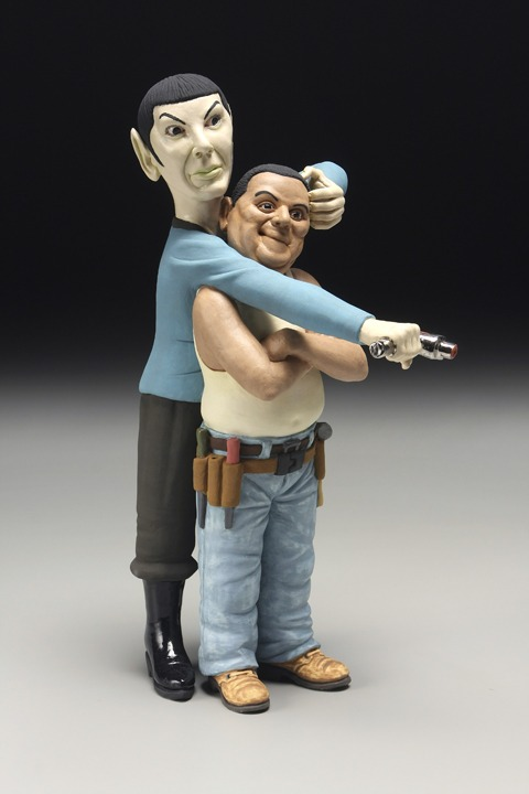 """RUSSELL BILES; """"Spock (The Trouble with Mexicans)"""";2007;hand built porcelain; h13""""; photo Tim Barnwell."""