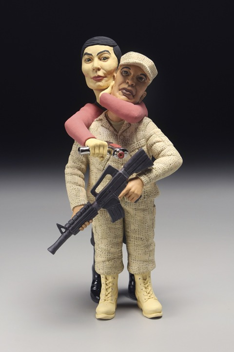"RUSSELL BILES; ""Sulu (The Trouble with Mexicans)"";2007;hand built porcelain; h13""; photo Tim Barnwell."