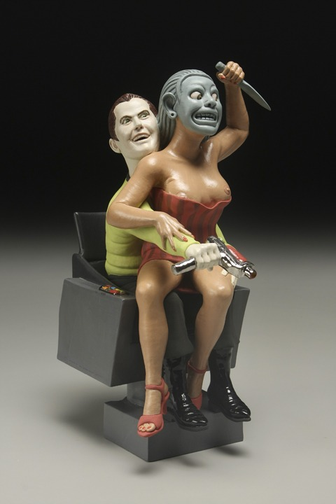 "RUSSELL BILES; ""Kirk(The Trouble with Mexicans)"";2007;hand built porcelain; h13""; photo Tim Barnwell."