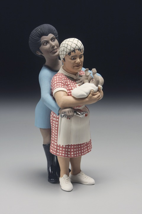 """RUSSELL BILES; """"Uhura(The Trouble with Mexicans)"""";2007;hand built porcelain; h13""""; photo Tim Barnwell."""