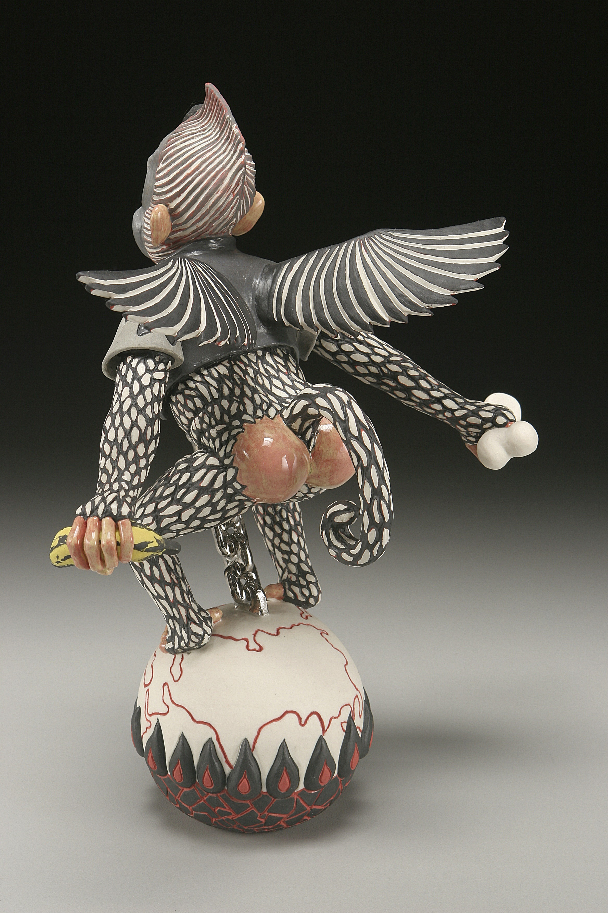 "RUSSELL BILES; ""Global Warring""; 2002; hand built porcelain;h9'; photo Tim Barnwell."
