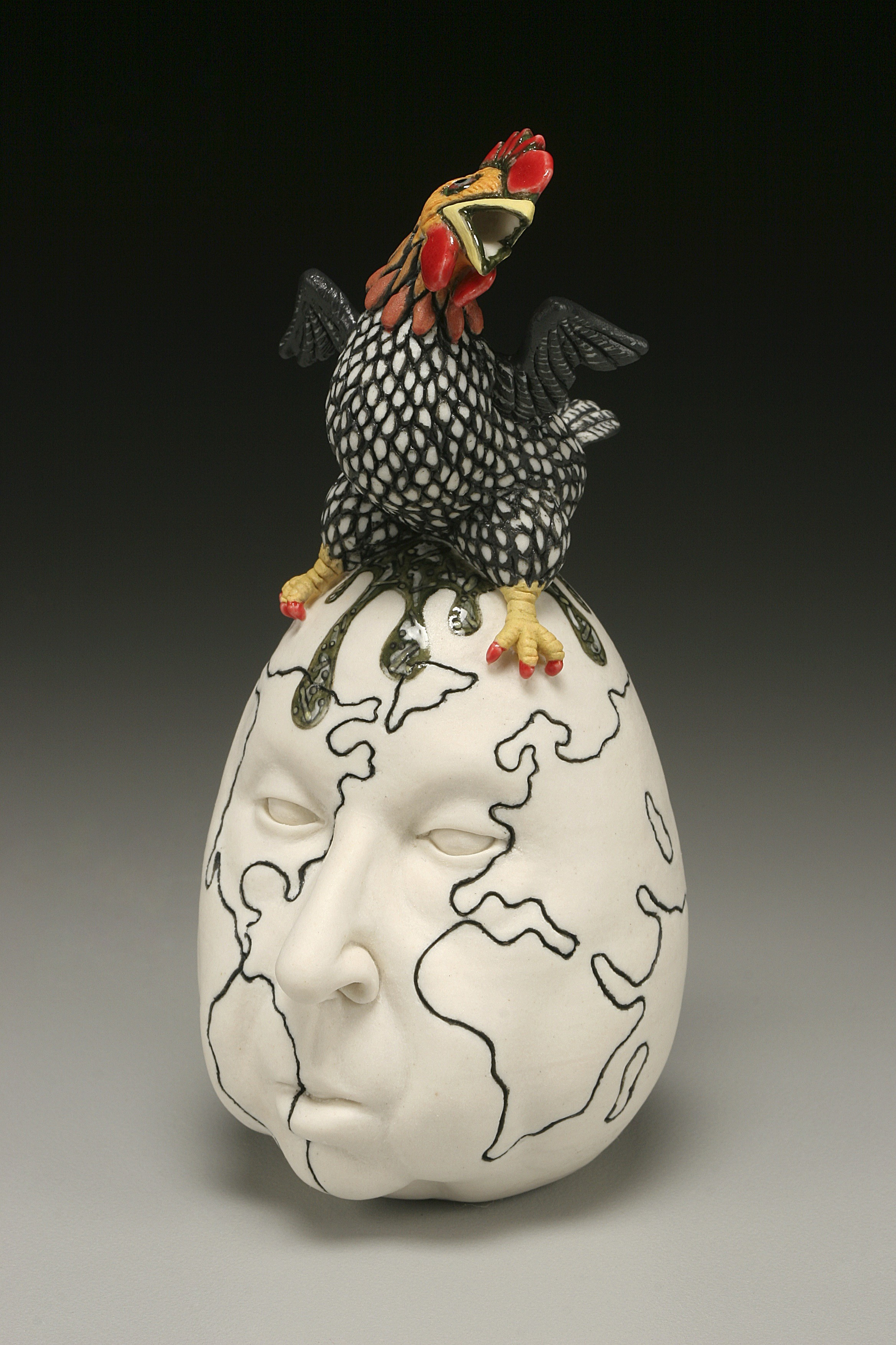 "RUSSELL BILES; ""For the Birds"";2002; hand built porcelain; h5""; photo Tim Barnwell."