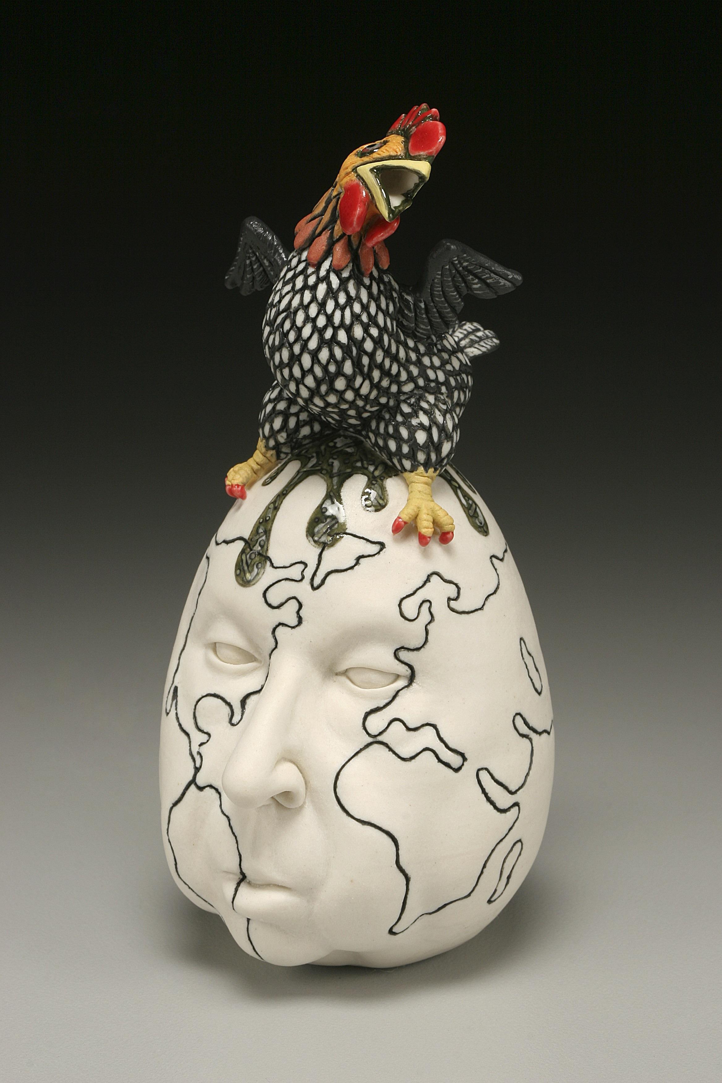 "RUSSELL BILES; ""For the Birds"";2002; hand built porcelain; h5""; photo Tim Barnwell."