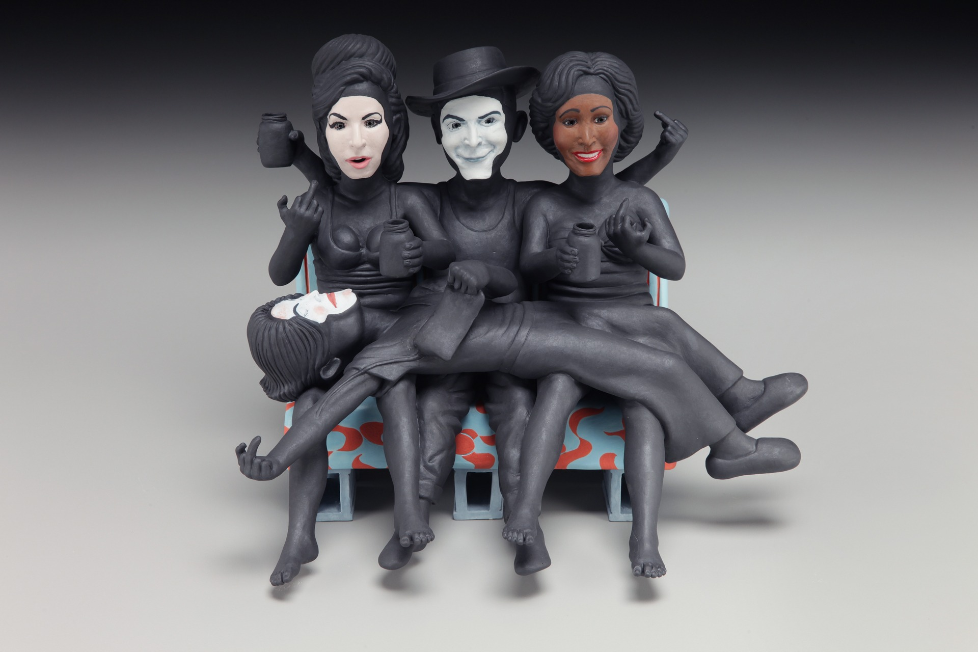 "RUSSELL BILES;""Idols (Amy, Hank, Whitney, Michael);2015;hand built porcelain;h7"";photo Tim Barnwell."