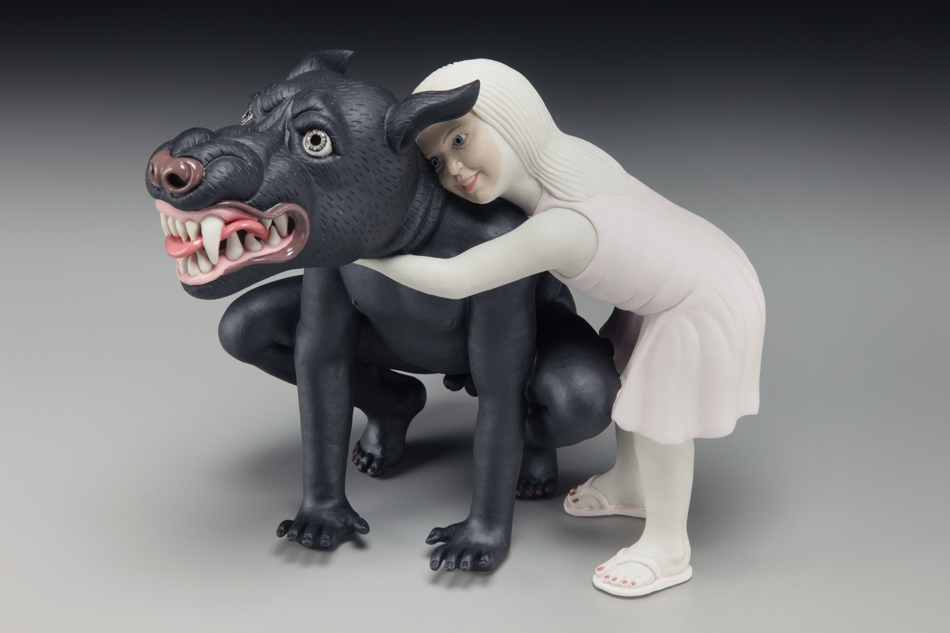"""RUSSELL BILES;""""Beauty and the Beast"""";2009;hand built porcelain;h8"""";photo Tim Barnwell."""