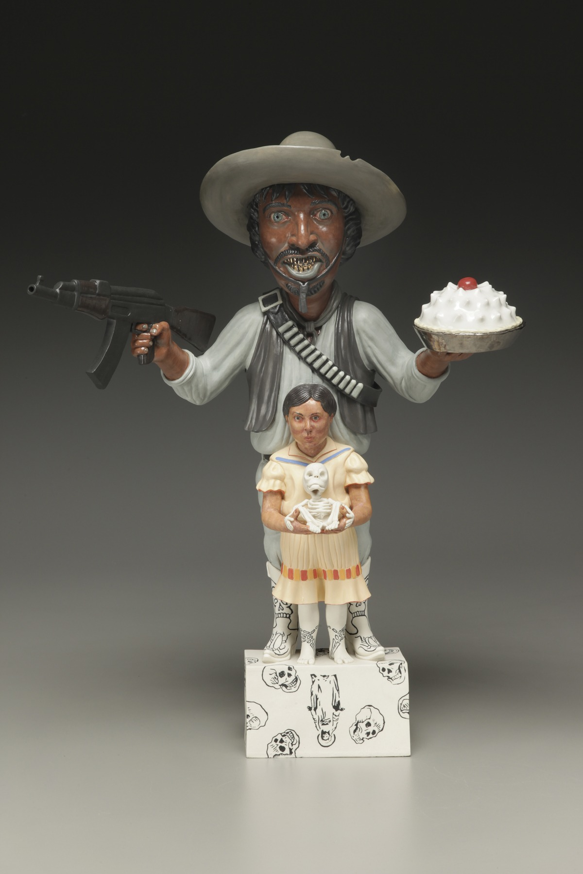 "RUSSELL BILES;""Nada Como El Hogar (No PLace Like Home)""; 2003;hand built porcelain;h21"";photo Tim Barnwell."