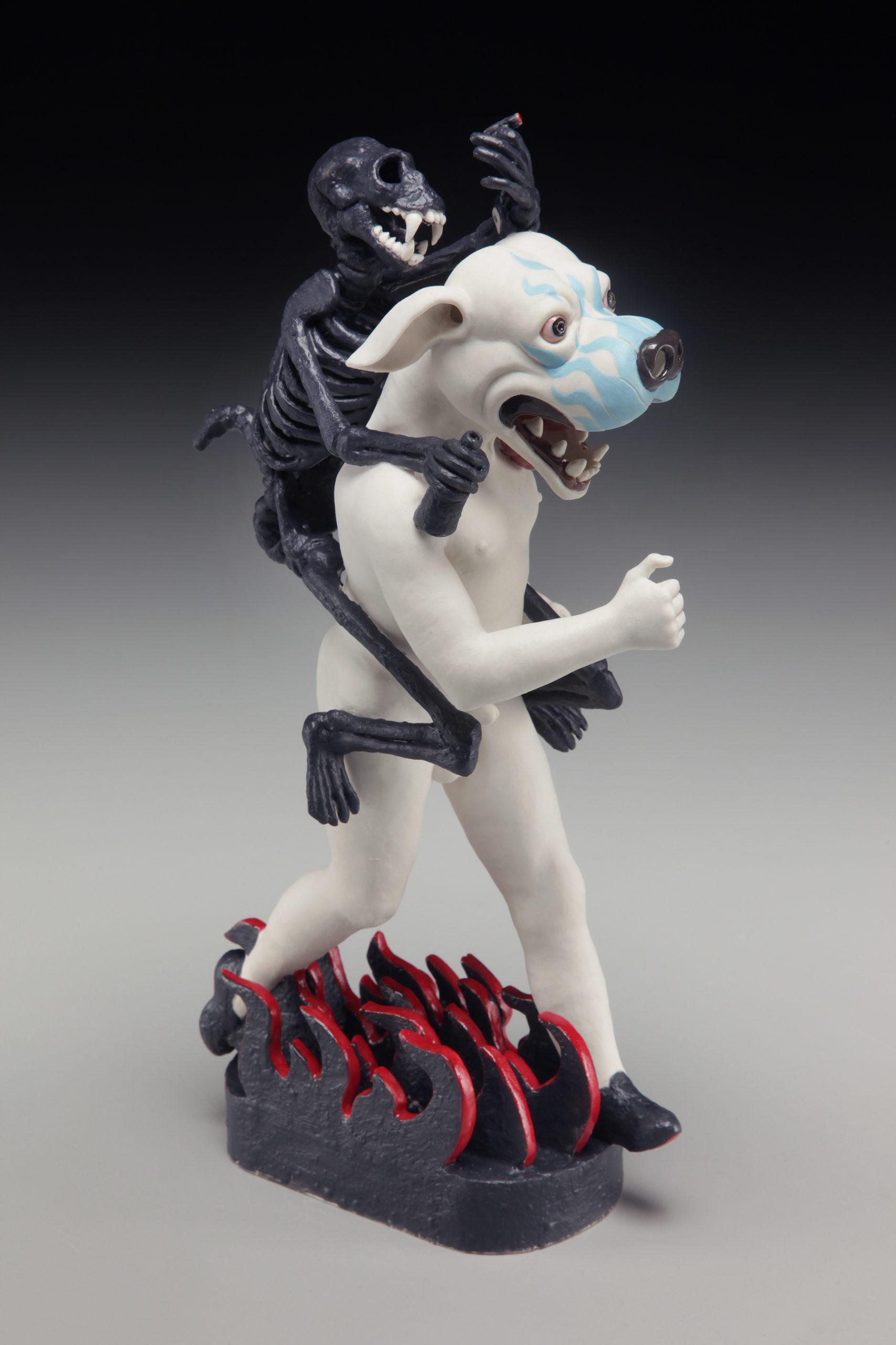 "RUSSELL BILES;""Running the Dog"";2014;hand built porcelain;h11""; photo Tim Barnwell."