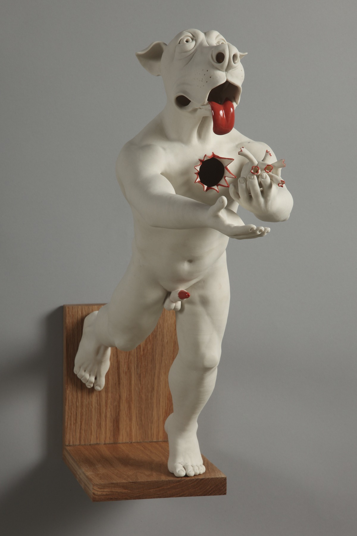 "RUSSELL BILES;""Fetch"";2012; hand built porcelain; h16""; photo Tim Barnwell."