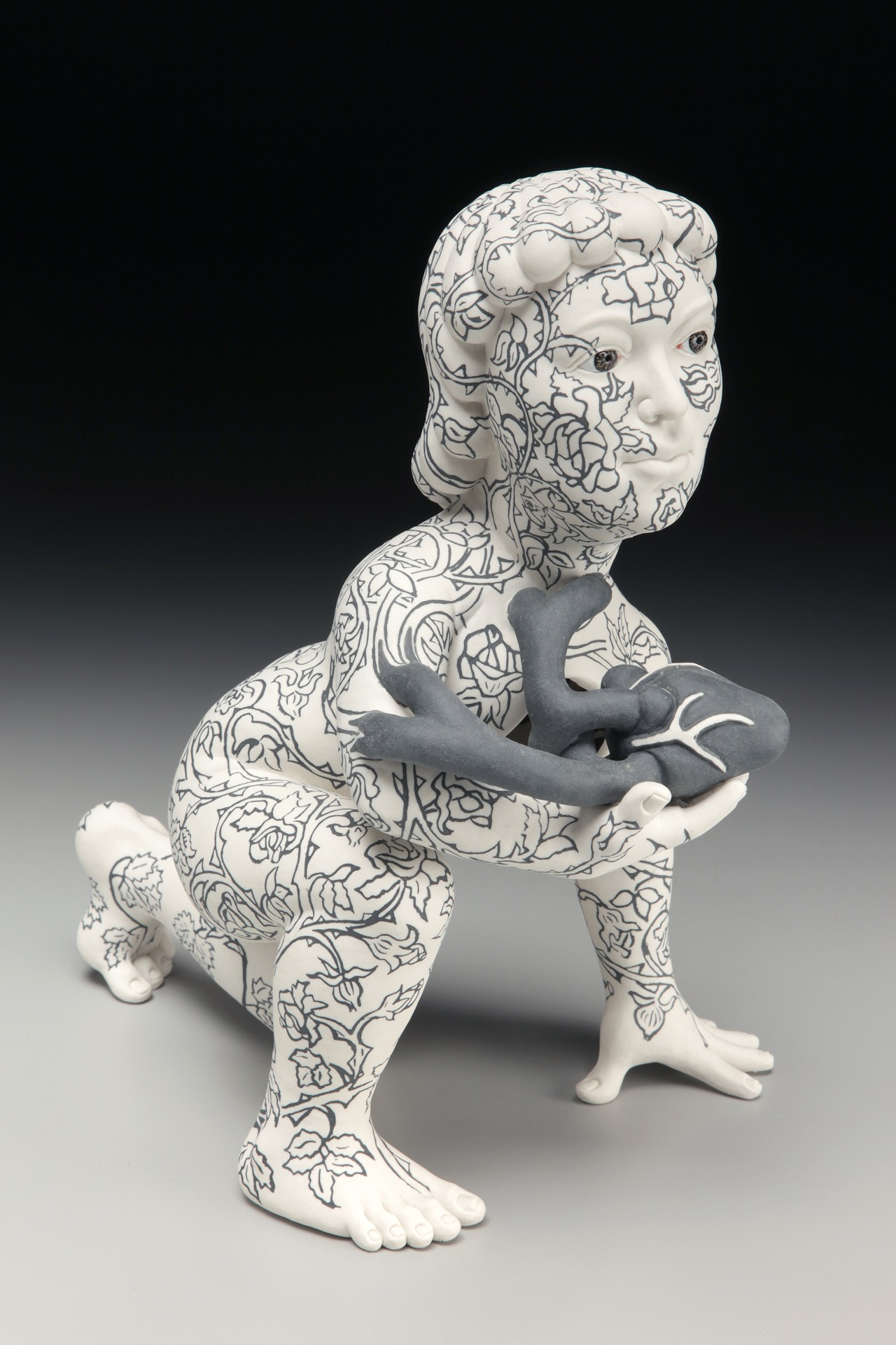 """RUSSELL BILES;""""Care Giver"""";2012; hand built porcelain;h17""""; photo Tim Barnwell."""