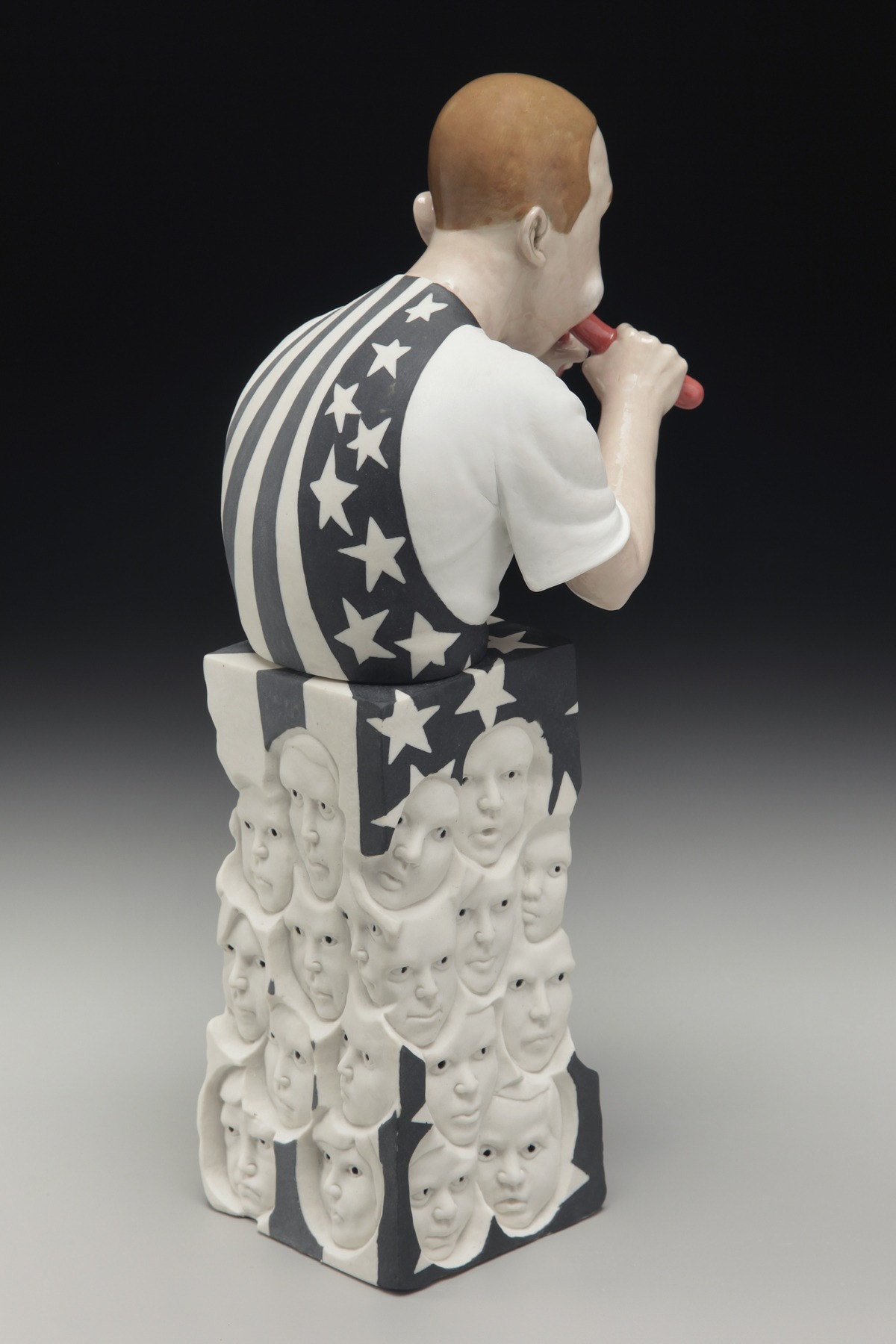 "RUSSELL BILES;""Hungry (1 in 5)"";2013;hand built porcelain;h8""; photo Tim Barnwell."