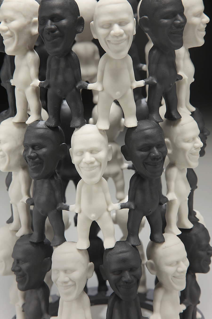 "RUSSELL BILES;""Obama (candle holders)"";2009; slip cast porcelain;h9""; photo Tim Barnwell."