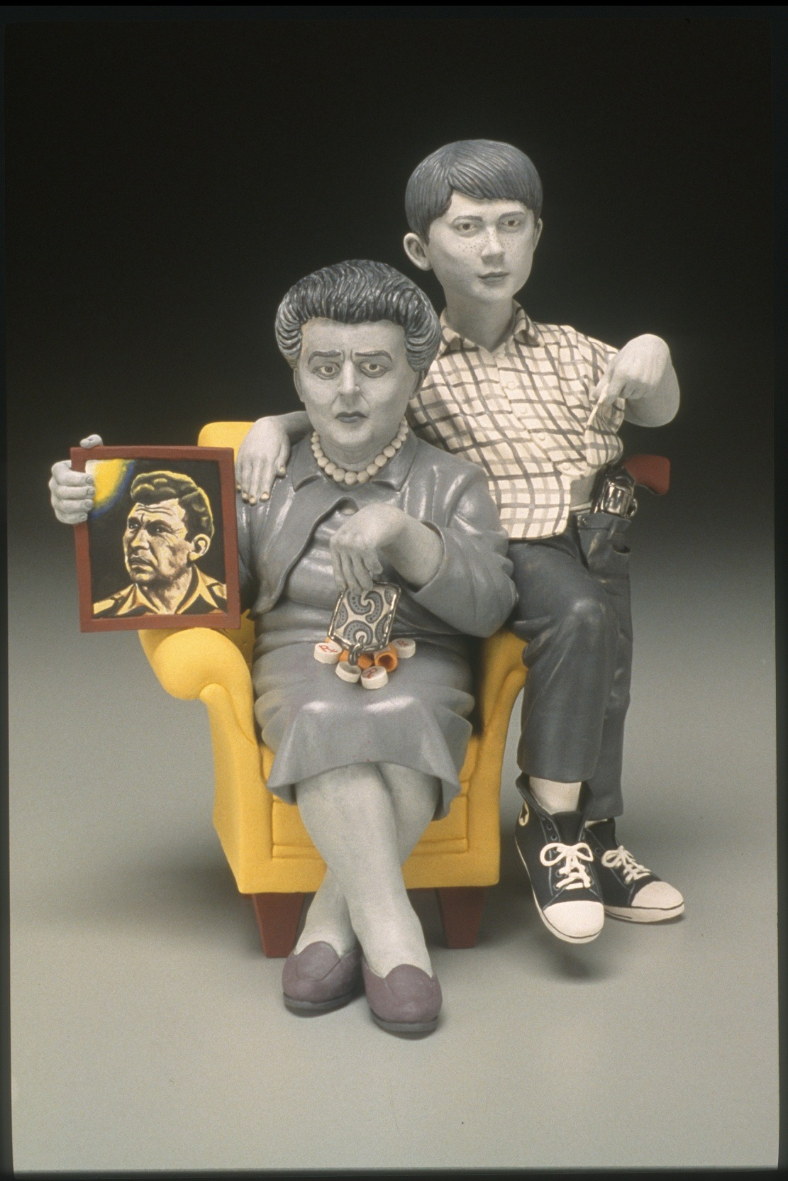 "RUSSELL BILES; "" Vengeance and Grace (The Passion of Andy)""; 2004; hand built porcelain; h11""; photo Tim Barnwell."
