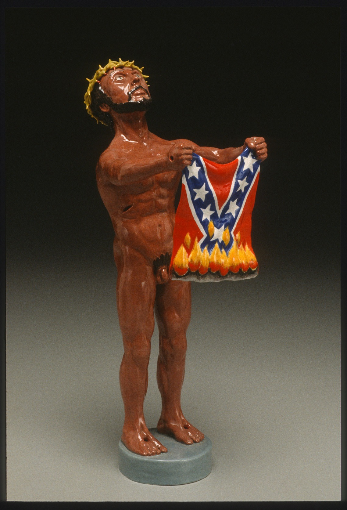 "RUSSELL BILES;"" Rebel, Rebel (Lenny Bruce);1998; hand built earthenware; h9""; photo Tim Barnwell."