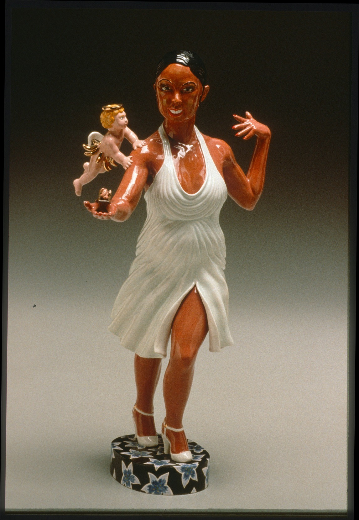 "RUSSELL BILES;""Josephine Baker, Ruth (Seed Receptors)"";2001; hand built earthenware; h18""; photo Tim Barnwell."
