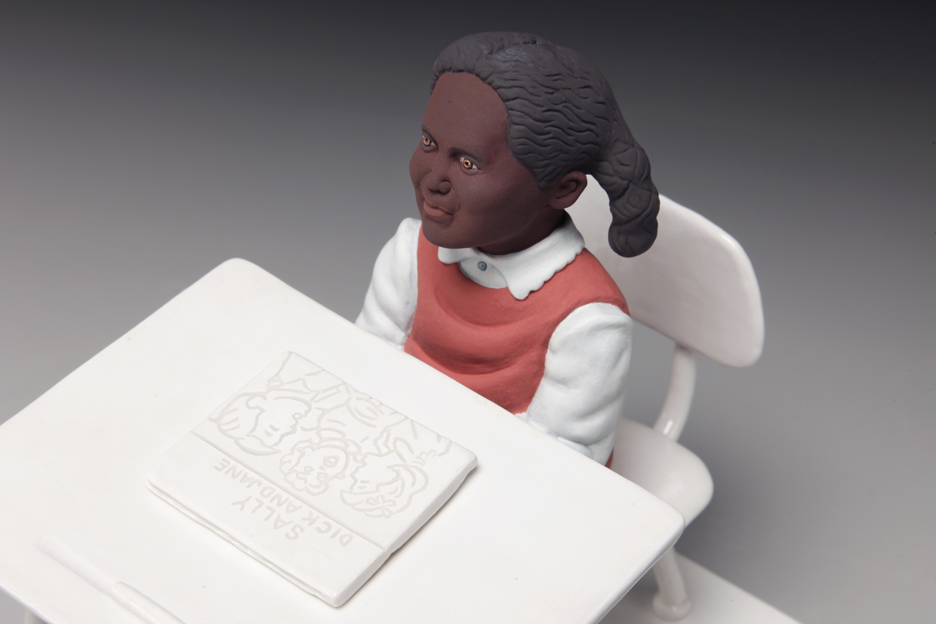 "RUSSELL BILES, ""Baby, Baby It's a White World, 1st Grade""; 2015; handbuilt porcelain; 8""h; photo Tim Barnwell."