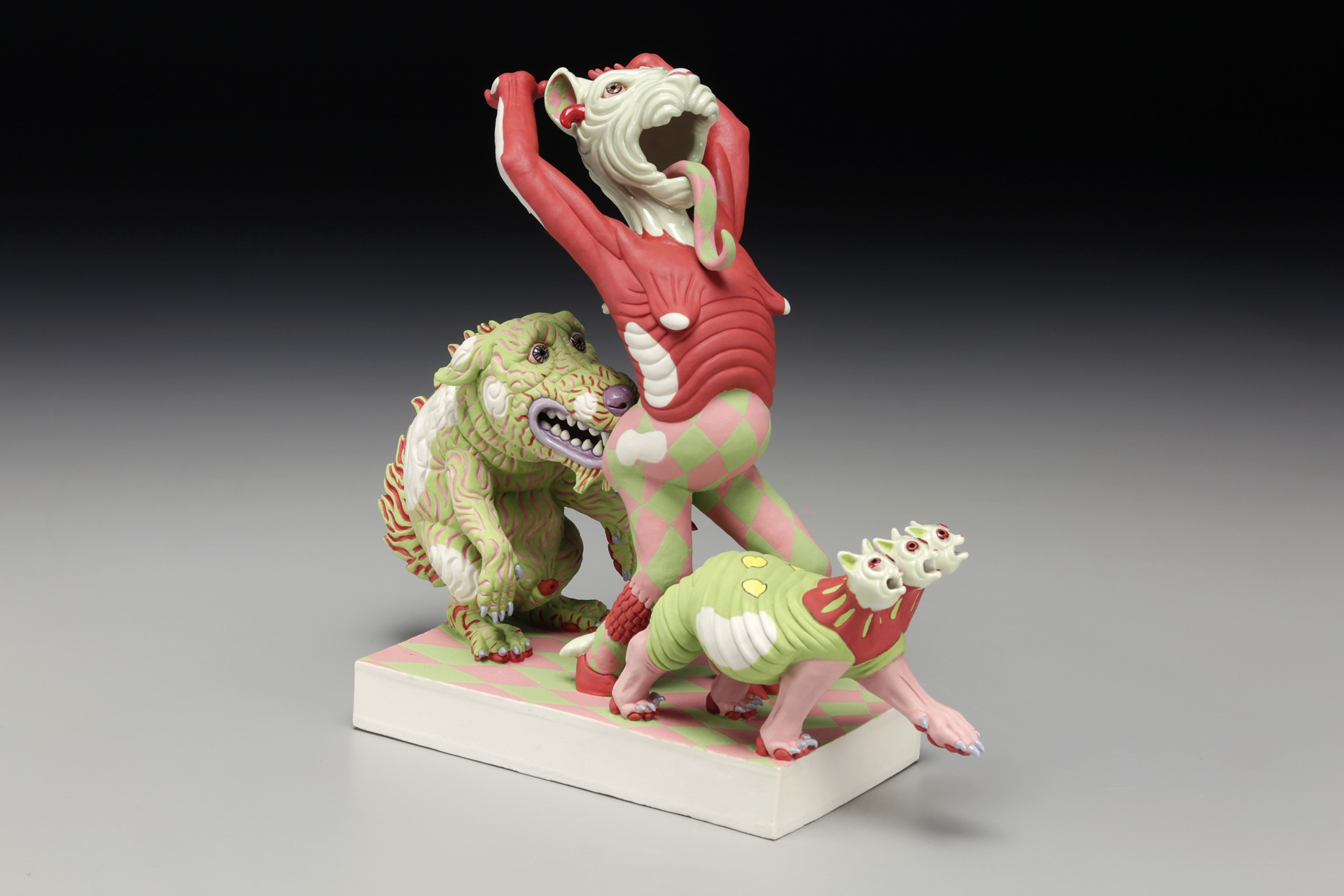 """RUSSELL BILES;""""Don goes to Hell"""";2015;hand built porcelain;h9"""";photo Tim Barnwell."""