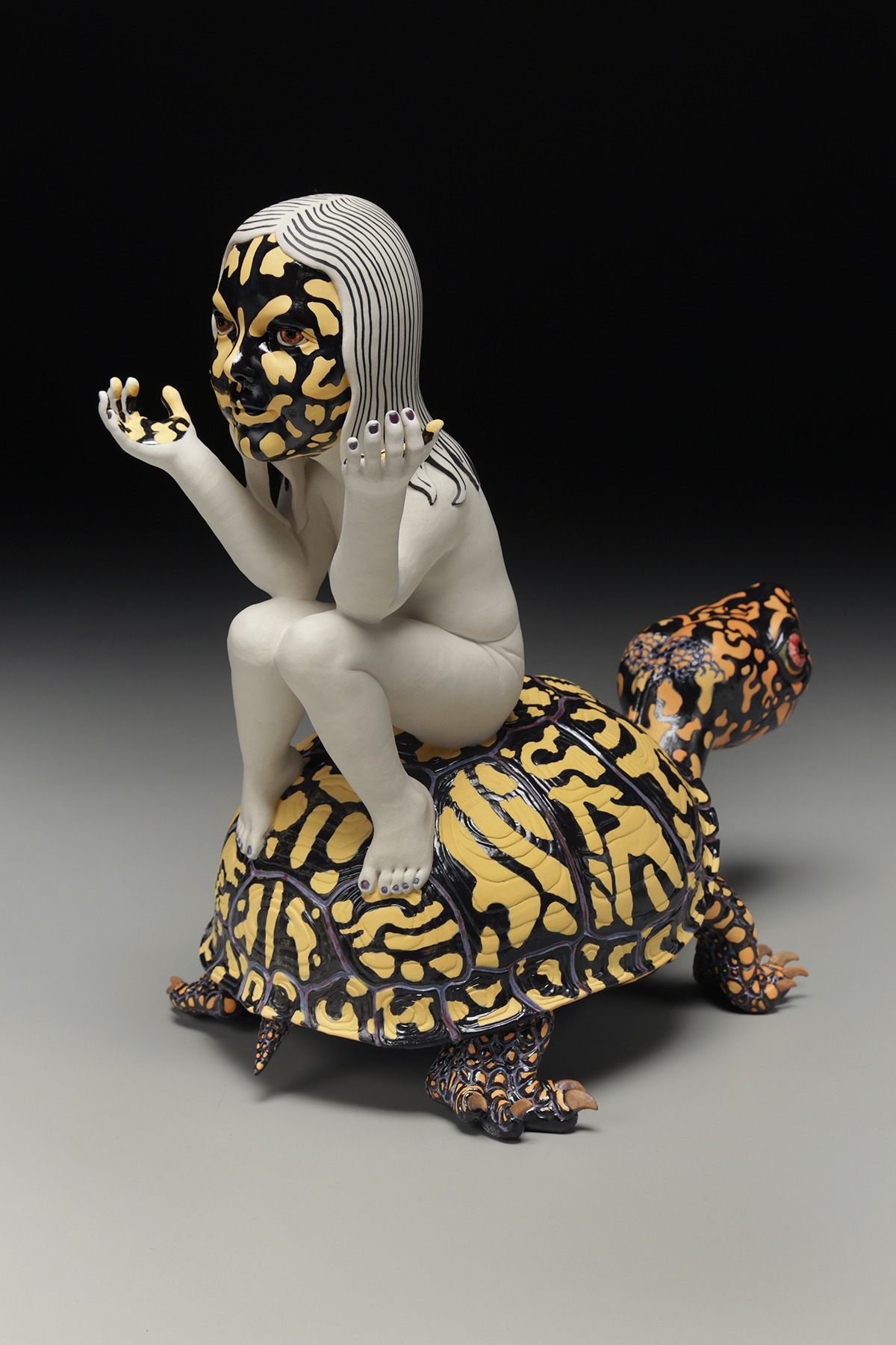 """RUSSELL BILES; """"Under the Influence""""; 2015; hand built porcelain; h15""""; photo Tim Barnwell."""