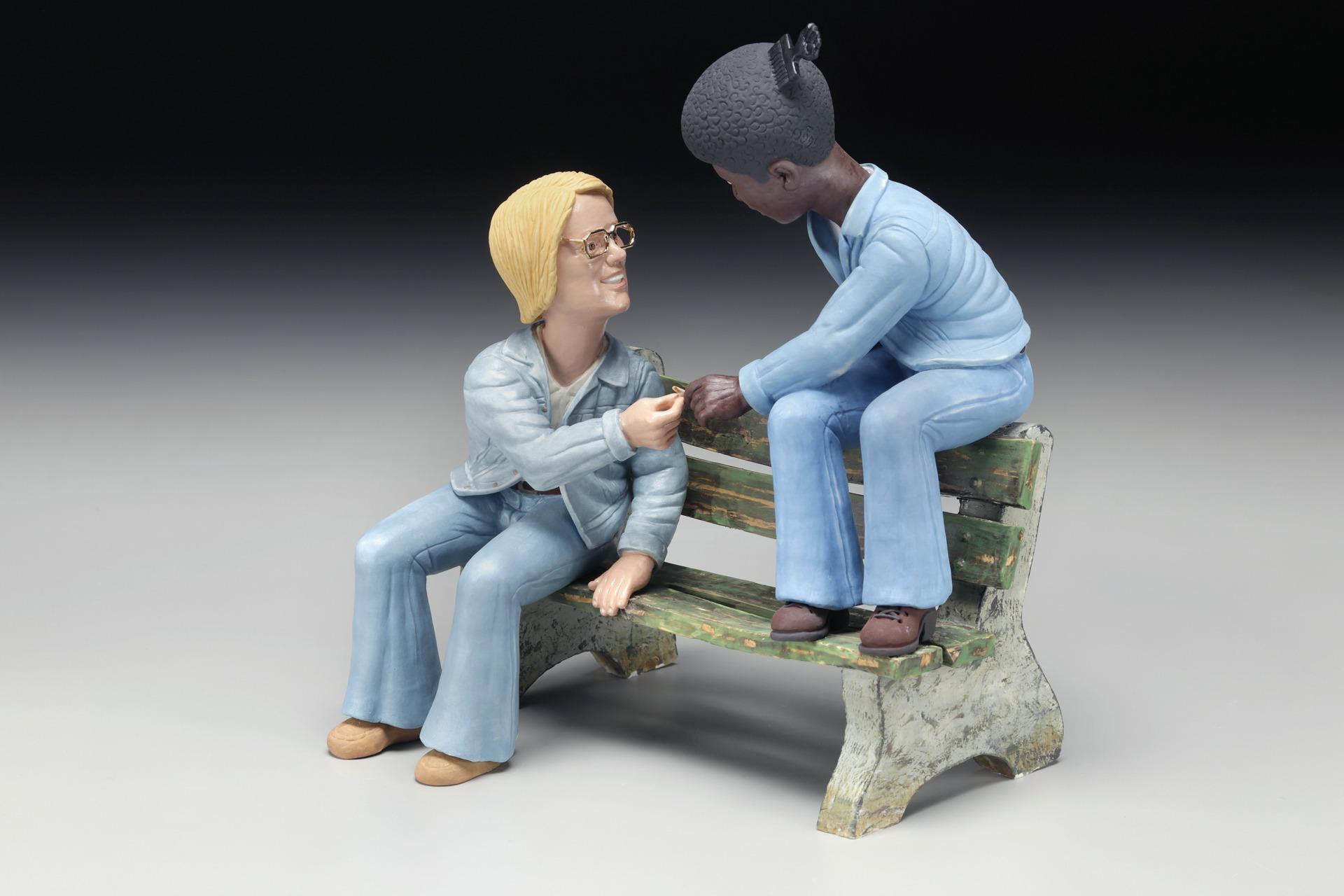 "RUSSELL BILES, ""Race Relations, 8th Grade"";2015; handbuilt porcelain, 10""h. photo Tim Barnwell."