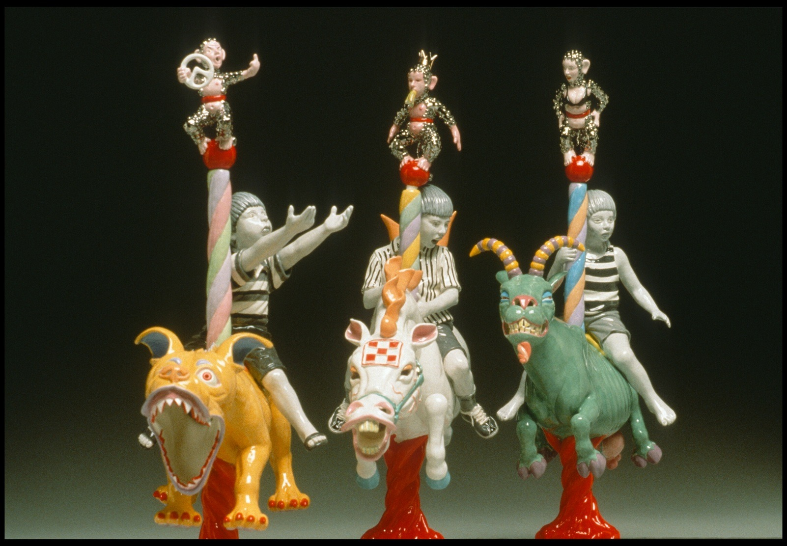 "RUSSELL BILES;""Seven Deadly Sins (Anger, Pride, Envy)"";2002; hand built earthenware; h11""; photo Tim Barnwell."