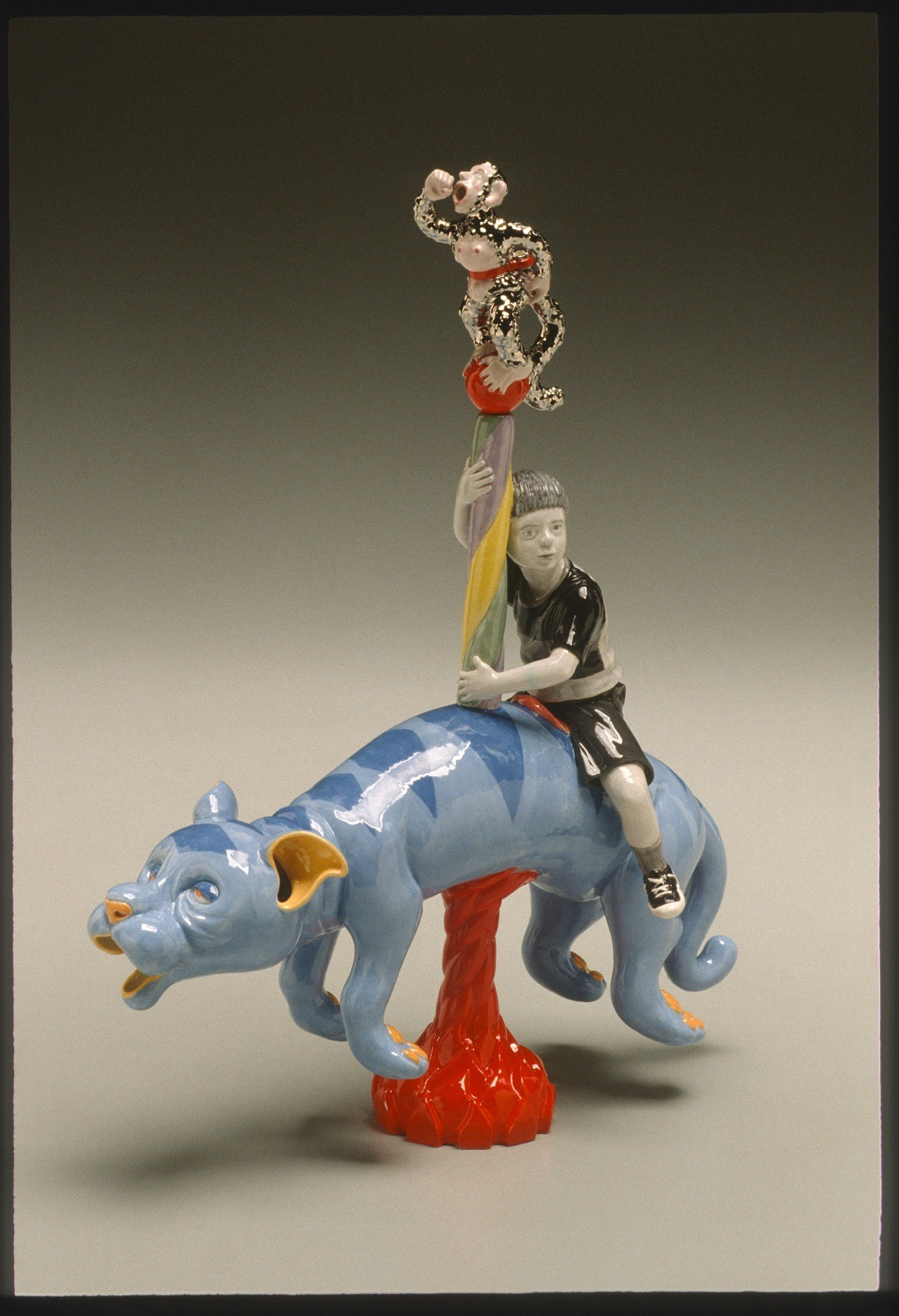 """RUSSELL BILES;""""Sloth (Seven Deadly Sins)"""";2002; hand built earthenware; h11""""; photo Tim Barnwell."""