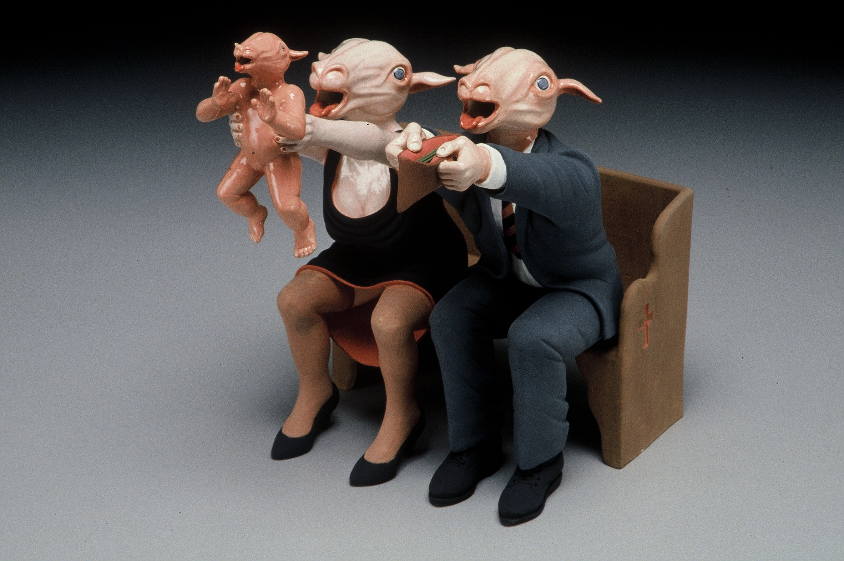 "RUSSELL BILES;""Bringing in the Sheep""; 2002; hand built porcelain; h13""; photo Tim Barnwell."