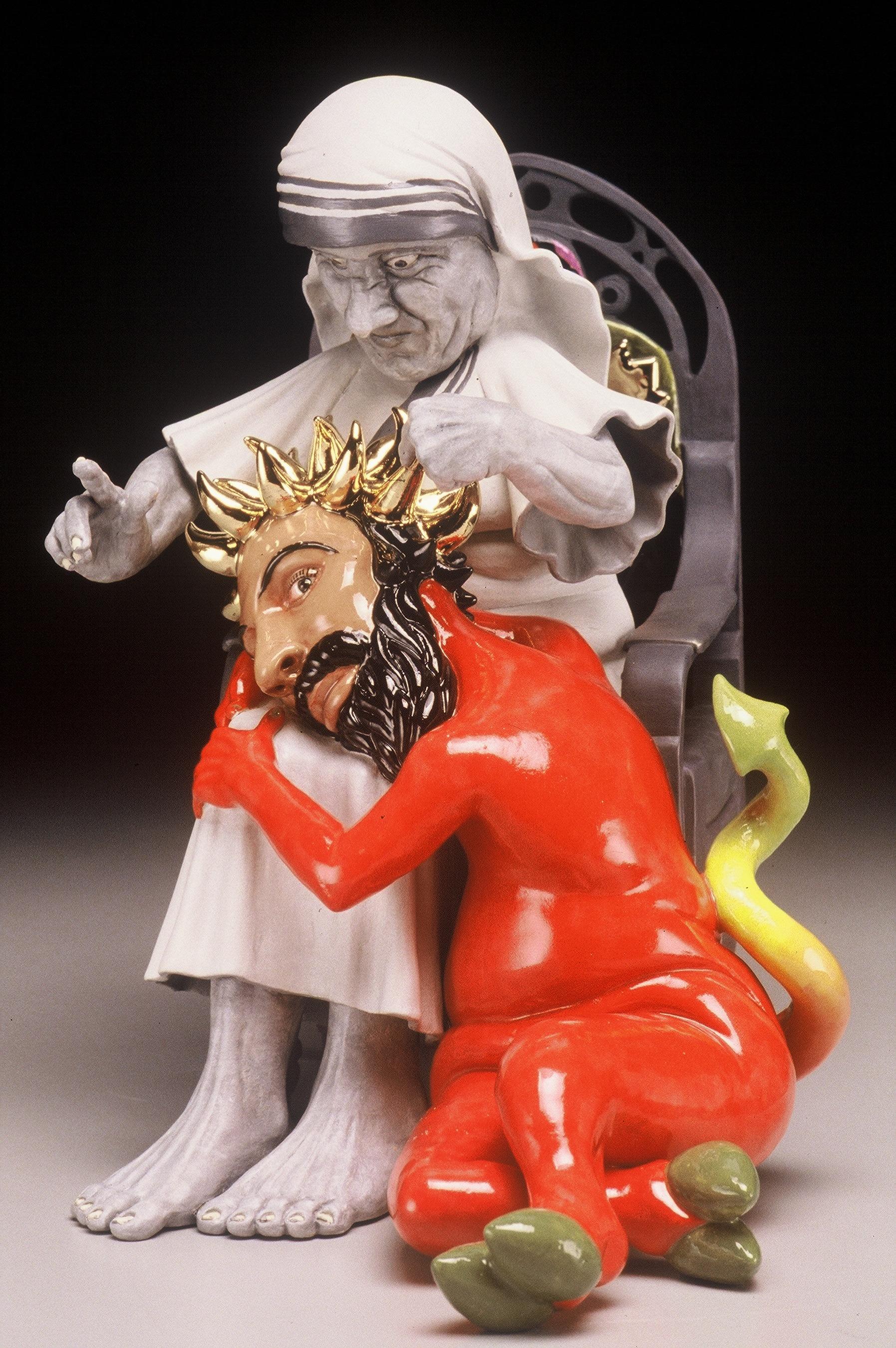 """RUSSELL BILES;"""" Lesser Evil""""; 2002; hand built porcelain; h10""""; photo Tim Barnwell."""