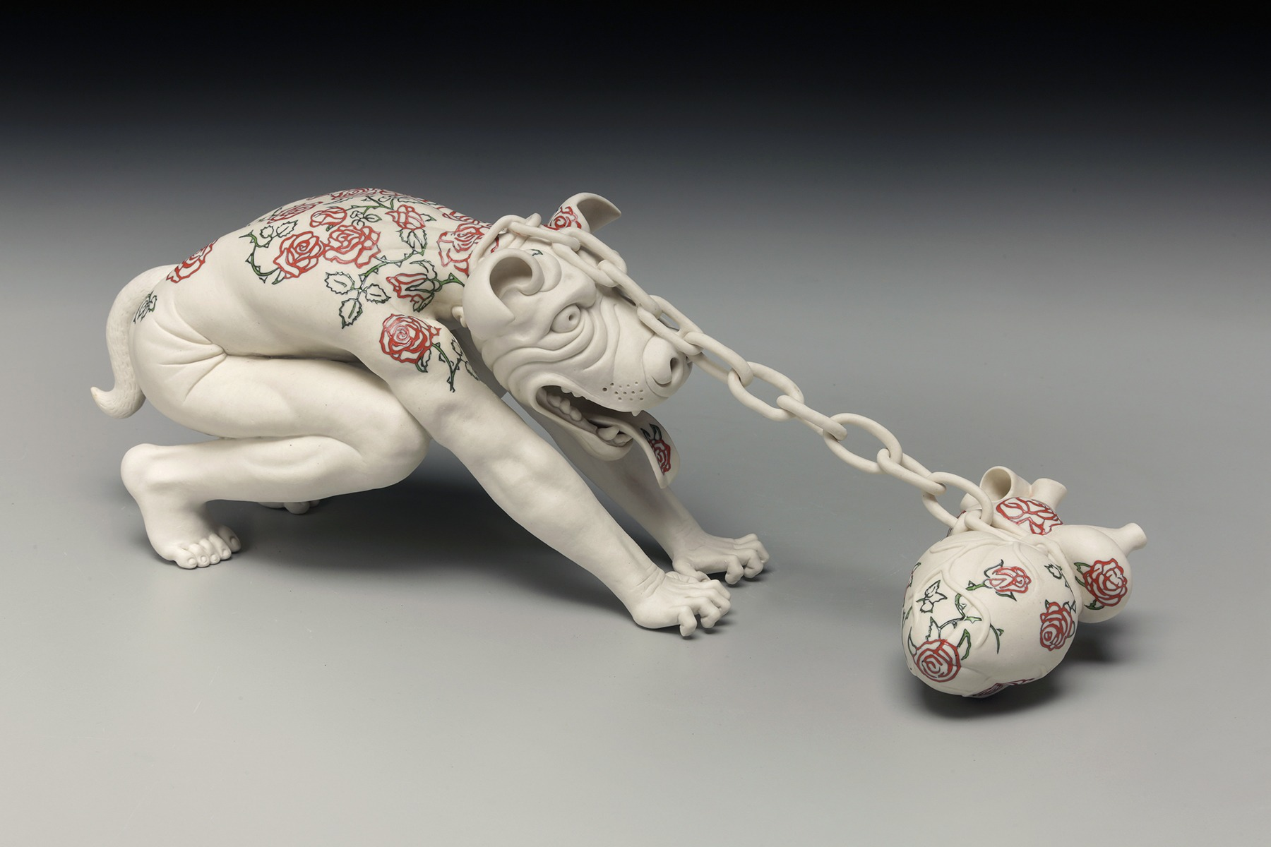 "RUSSELL BILES,""Chained Dog""; 2017; hand built porcelain;4""h; Photo Tim Barnwell."