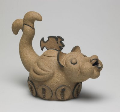 "RUSSELL BILES;""All You Can Eat (teapot)"";1994;hand built stoneware;h7""."