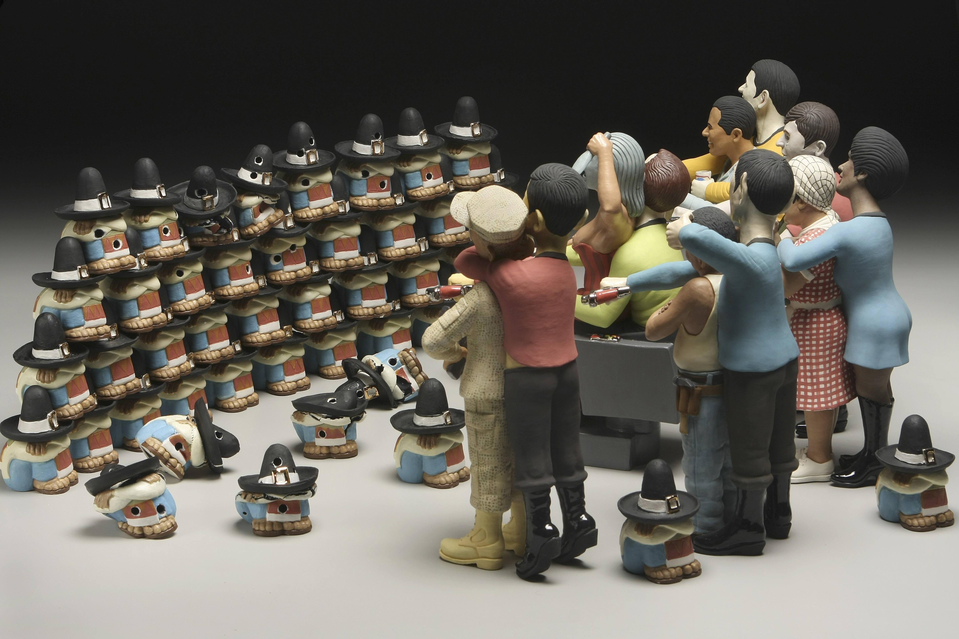"""RUSSELL BILES;""""The Trouble with Mexicans"""";2007; hand built porcelain; h13""""; photo Tim Barnwell."""