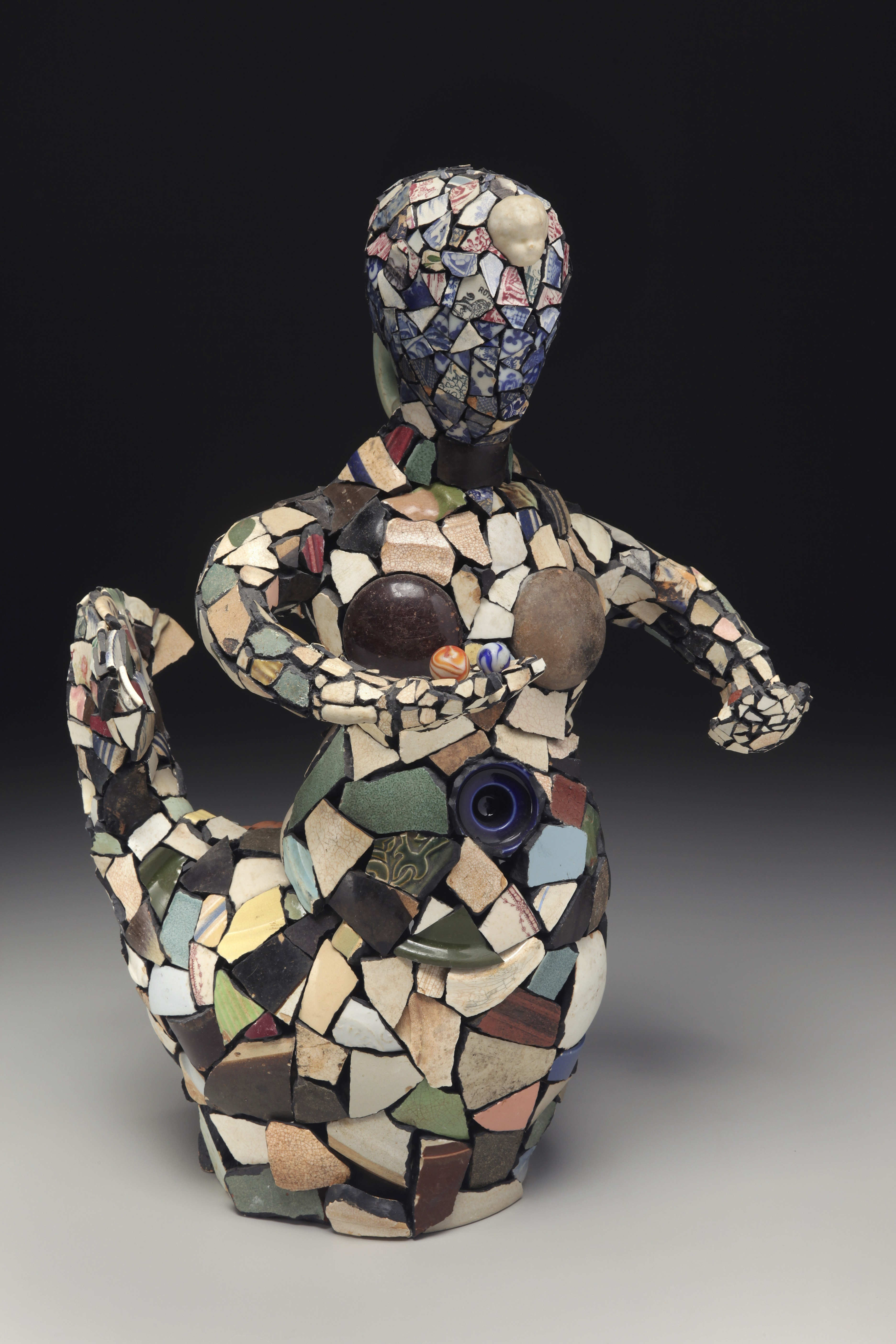 "RUSSELL BILES;""Reedy River Mermaid"";2001;found ceramic;h21""; photo Tim Barnwell."